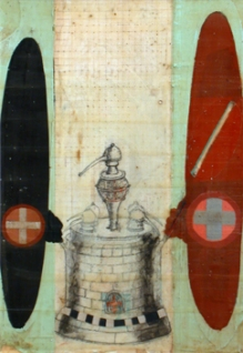 "Philosophical Furnace II, 1999. Mixed media on paper. 13"" x 9""."