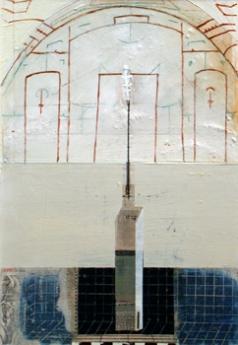 "San Sebastian, 1999. Mixed media on paper. 13"" x 9""."