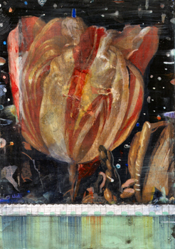"Tulip, 2004. Mixed media on board. 8-1/4"" x 5-3/4""."