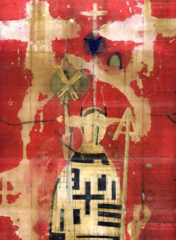 "Giordano, 2005. Mixed media on board. 13"" x 9-1/4""."