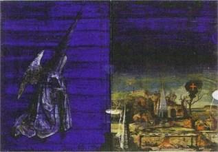 Pilgrim I mixed media on wood 30 x 38cm