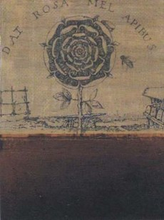 Dat Rosa Mel Apibus mixed media on wood 36 x 30cm