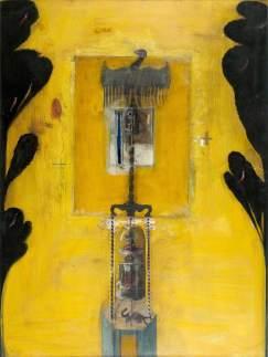 Lupus in fabula by Ian Howard Oil, wax & mixed media on board, 136 x 100 cm