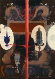 "Verso, 1999. Mixed media on paper. 12-1/2"" x 8-3/4""."