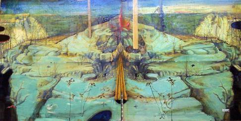 Golgotha Mixed media on wood 30 x 60 cm